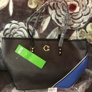 C. Wonder Black and Blue Stripe Large Tote Bag